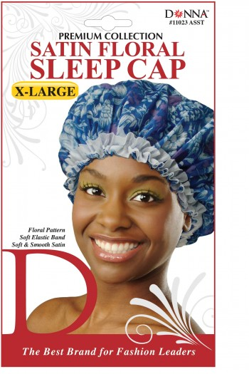 LGE SATIN FLORAL SLEEP CAP 11023