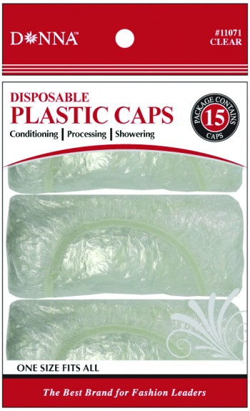DONNA CLEAR SHOWER CAP 15PCE  (DOZEN)