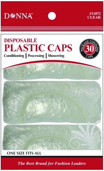 DONNA SHOWER CAPS CLEAR 30PCE (DOZ)