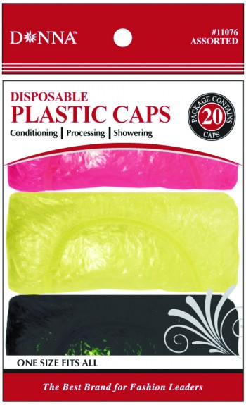 SHOWER CAPS (BLK RD YEL) 20PCE DOZEN T11076