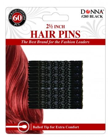 """60 HAIR PINS 2.5 BLK T205"""""""