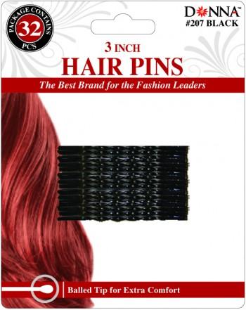 """32  HAIR PINS 3 BLK T207"""""""
