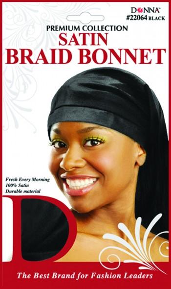 SATIN BRAID BONNETT BLACK T22064